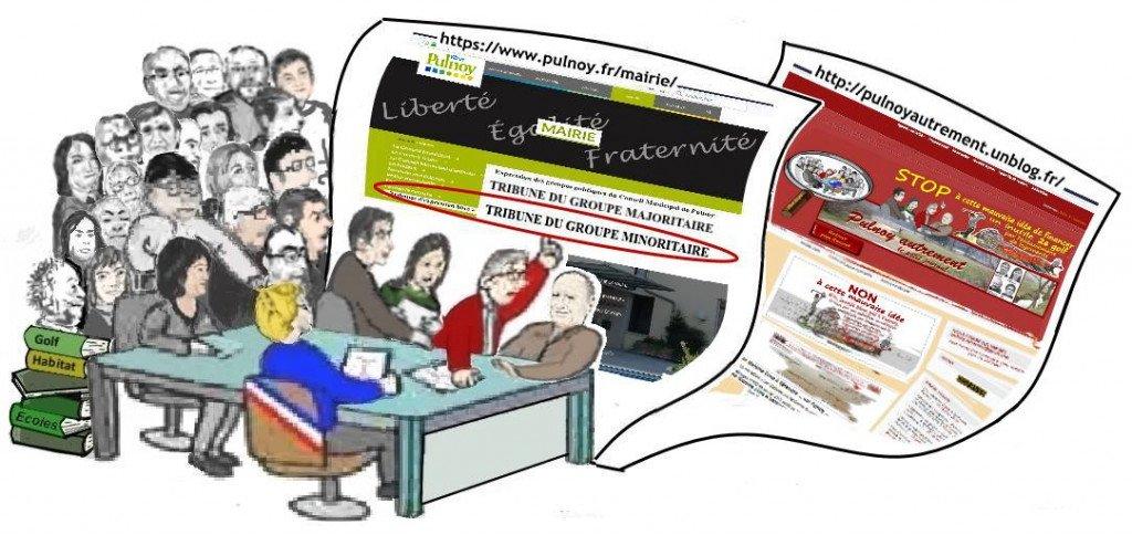 Dessin humor CM majorité+opposition_Pub site Mairie Tribune expr libre_Gr minoritaire