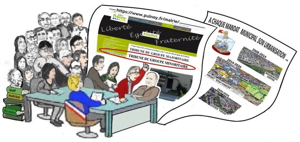 Dessin humor CM majorité+opposition_Pub site Mairie Tribune expr libre_Gr minoritaire_Nov2018