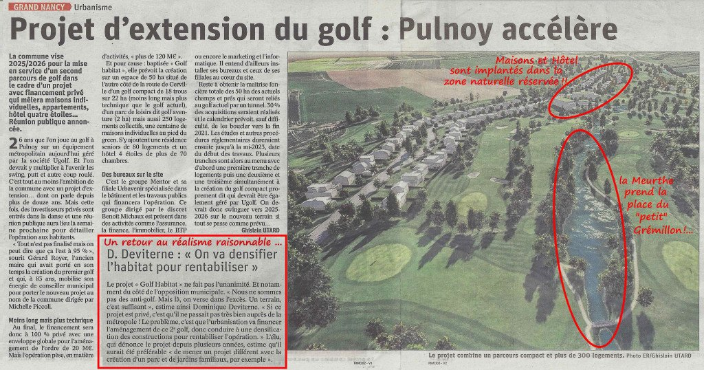 Art_EstRep_2egolf-habitat Pulnoy_7-6-2019_montage p2-3_article central_avec commentaires