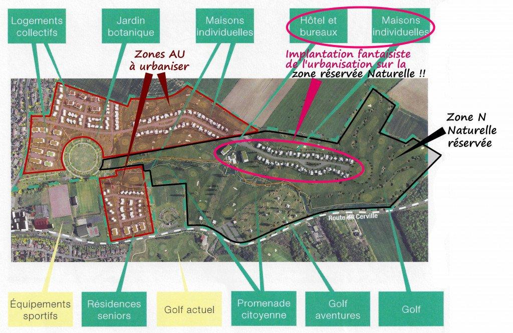 Golf Habitat_px Dossier de presse mairie_juin 2019_limites zone AU1et2 + zone N + légendes