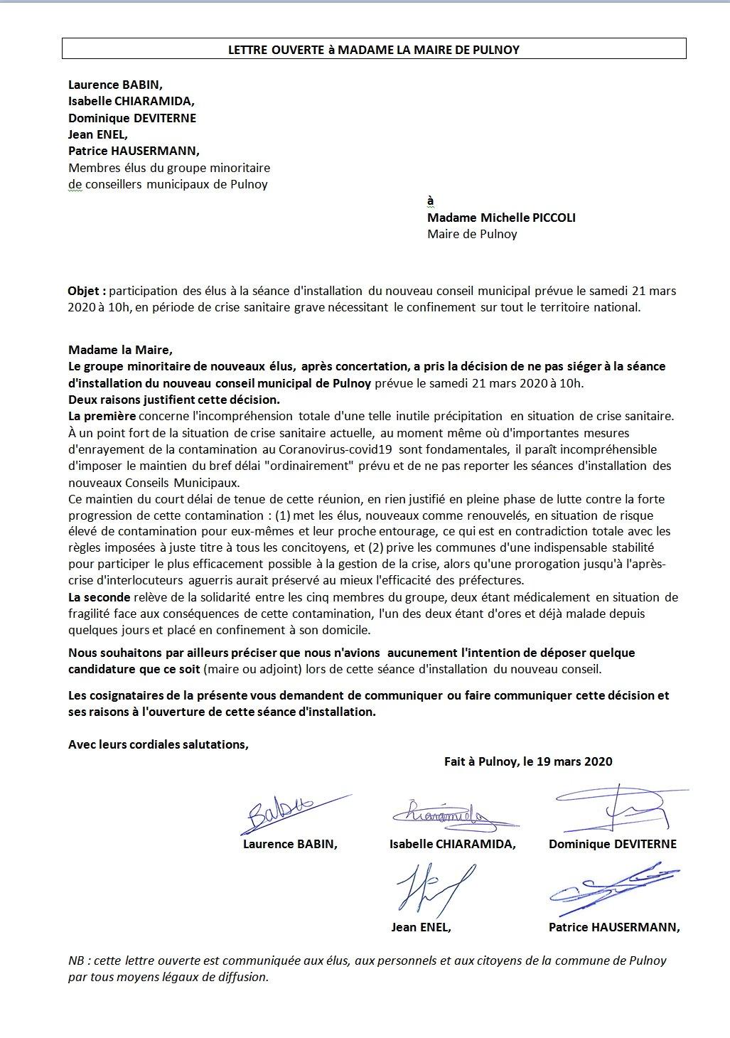 Photo_Lettre ouverte_Gr Minoritaire a M Piccoli_refus de sieger_Installation CM du 21-03-2020
